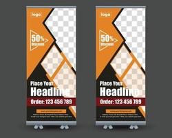 Restaurant food roll-up or x banner template, Food restaurant vector