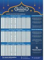 Ramadan Kareem Timing Calendar, A3 Islamic Ramadan Calendar vector