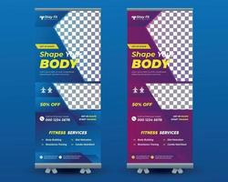 Rollup Banner Design for gym, fitness club, healthcare,Modern fitness vector
