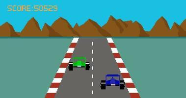 animação de desenho animado estilo retro pixel art carro de corrida video