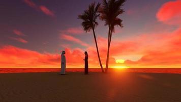 tramonto silhouette gente araba sulle sabbie del deserto e sul mare video