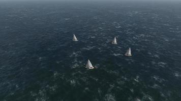 Segelregatta. Rennen zum stürmischen Meer video