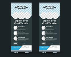 Corporate Travel Tour Rollup Banner, Travel flyer vector
