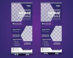 Real estate roll up stand banner template vector