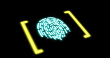elaborazione digitale futuristica dello scanner biometrico di impronte digitali. concetto di sorveglianza e scansione di sicurezza di programmi digitali e biometria delle impronte digitali. applicazioni cyber futuristiche. video