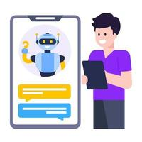 Chatting Robot Assistant vector