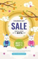 Chuseok Day Sale Flyer vector