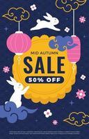 Mid Autumn Sale Flyer with Mooncake Element vector