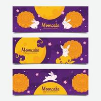 Mooncake Mid Autumn Festival Banner Set vector