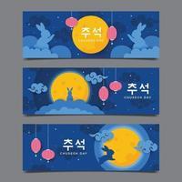 Chuseok Day Banner Set vector