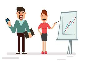 Businessman and businesswoman characters standing vector