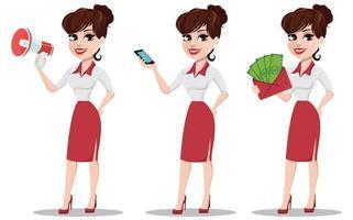 conjunto de joven empresaria de dibujos animados. hermosa dama con altavoz vector