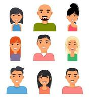 Set of people portrait face icons. Web avatars in flat style vector