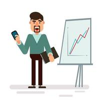 Businessman character standing with strategy presentation vector