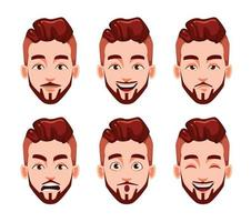 Face expressions of stylish modern young man vector