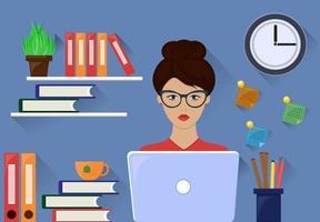 A brunette woman works at a desk vector