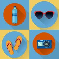 Vacation flat icons. Set of four vector icons