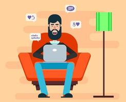 Bearded man sitting in a chair with a laptop vector