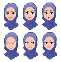 Set of face expressions of Arabic woman vector