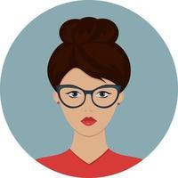 Businesswoman wearing glasses. Vector illustration.