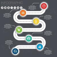 Road timeline infographic for workflow vector