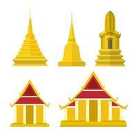 Thailand temple elements. asian building culture. vector illustration