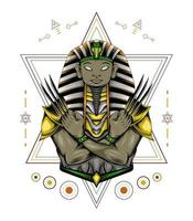 Vector Anubis artwork with claw on sacred geometry.
