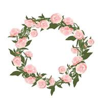 A wreath of peonies. Round frame, pink cute flowers and leaves vector