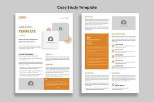 Minimalist Case Study flyer template design, Double Side Flyer vector