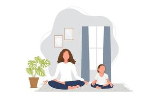 Young woman practicing yoga with daughter at home. Vector illustration