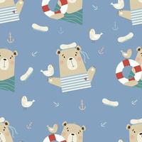 Seamless pattern with cute bears. sailor with seagull and lifebuoy vector