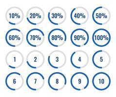 conjunto de porcentaje de círculo y diagrama de cuenta regresiva 10-100 por ciento 1-10. vector
