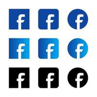 Set of facebook social media logo icons with various style vector