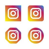 Set of instagram social media logo icons with various style shape vector