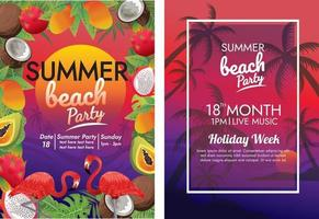 holiday sunset beach poster vector