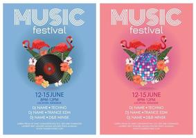 music festival poster  tropical paradise beach party vector
