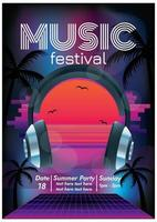 sunset paradise music festival poster for party vector