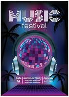 disco music festival poster for party vector