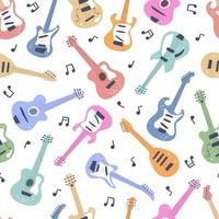 Electric guitar, bass guitar, classical guitar. seamless pattern vector