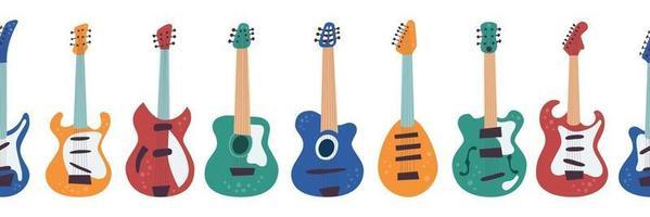Guitars. Horizontal seamless pattern. Vector illustration