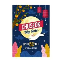 Chuseok Big Sale Poster Template vector