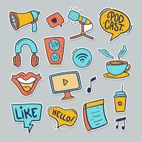 Podcast Sticker Collection vector