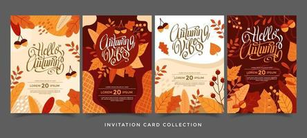 Autumn Invitation Card Collection vector
