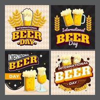 International Beer Day Card Set vector