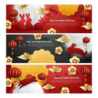 Mid Autumn Banner Collection vector