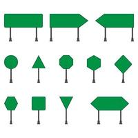 Set of green road signs on white background vector
