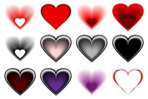 Set of lovely hearts vector