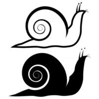 Snail animal silhouette. Icon of snail in outline and glyph style. Slow garden animals, isolated on white background. Vector