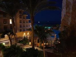 Vista de noche desde la ventana a palmeras en Hurghada, Egipto foto