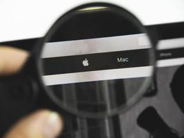 Apple logo on a web page, illustrative editorial photo